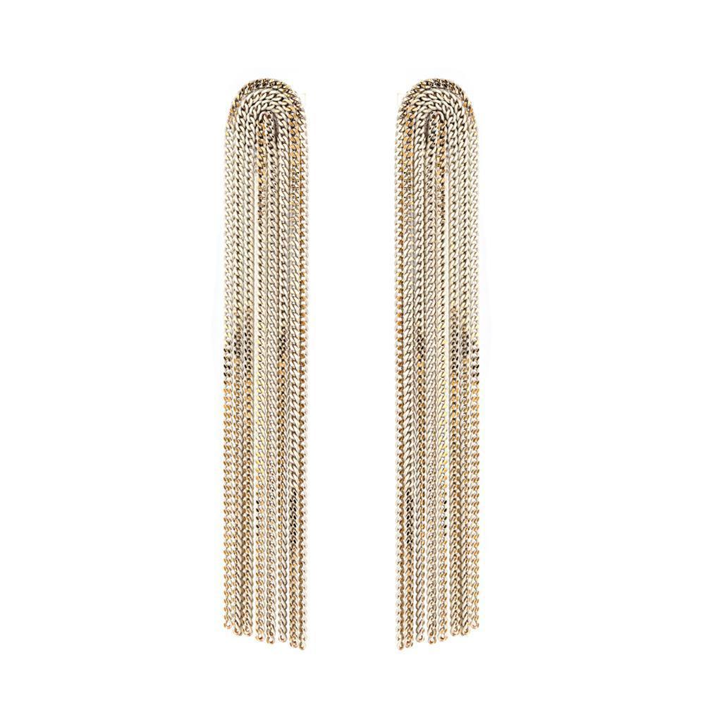 INGI WHITE METAL TASSEL LONG EARRINGS