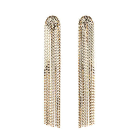 INGI WHITE METAL TASSEL LONG EARRINGS-Earrings-MEZI