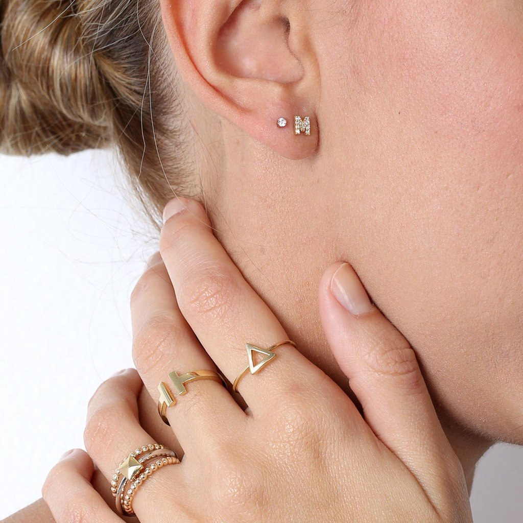 INITIAL GOLD CRYSTAL STUD