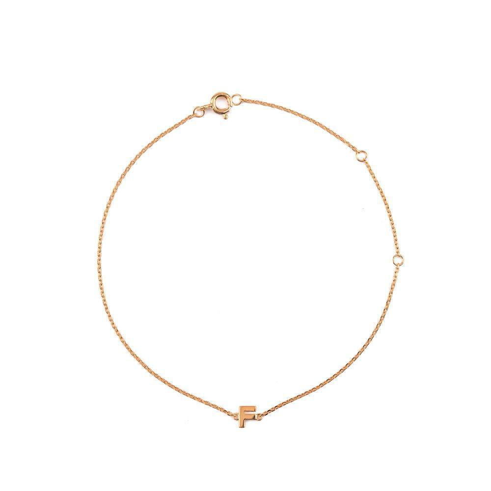 INITIAL PLAIN ROSE GOLD BRACELET