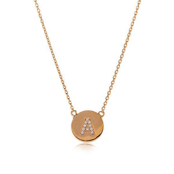 INITIAL ROSE GOLD DISC NECKLACE