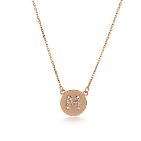INITIAL ROSE GOLD DISC NECKLACE-Initials-MEZI