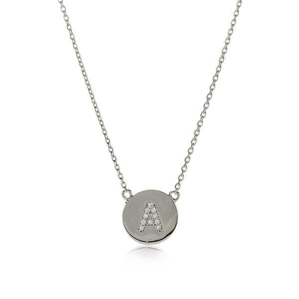 INITIAL SILVER DISC NECKLACE