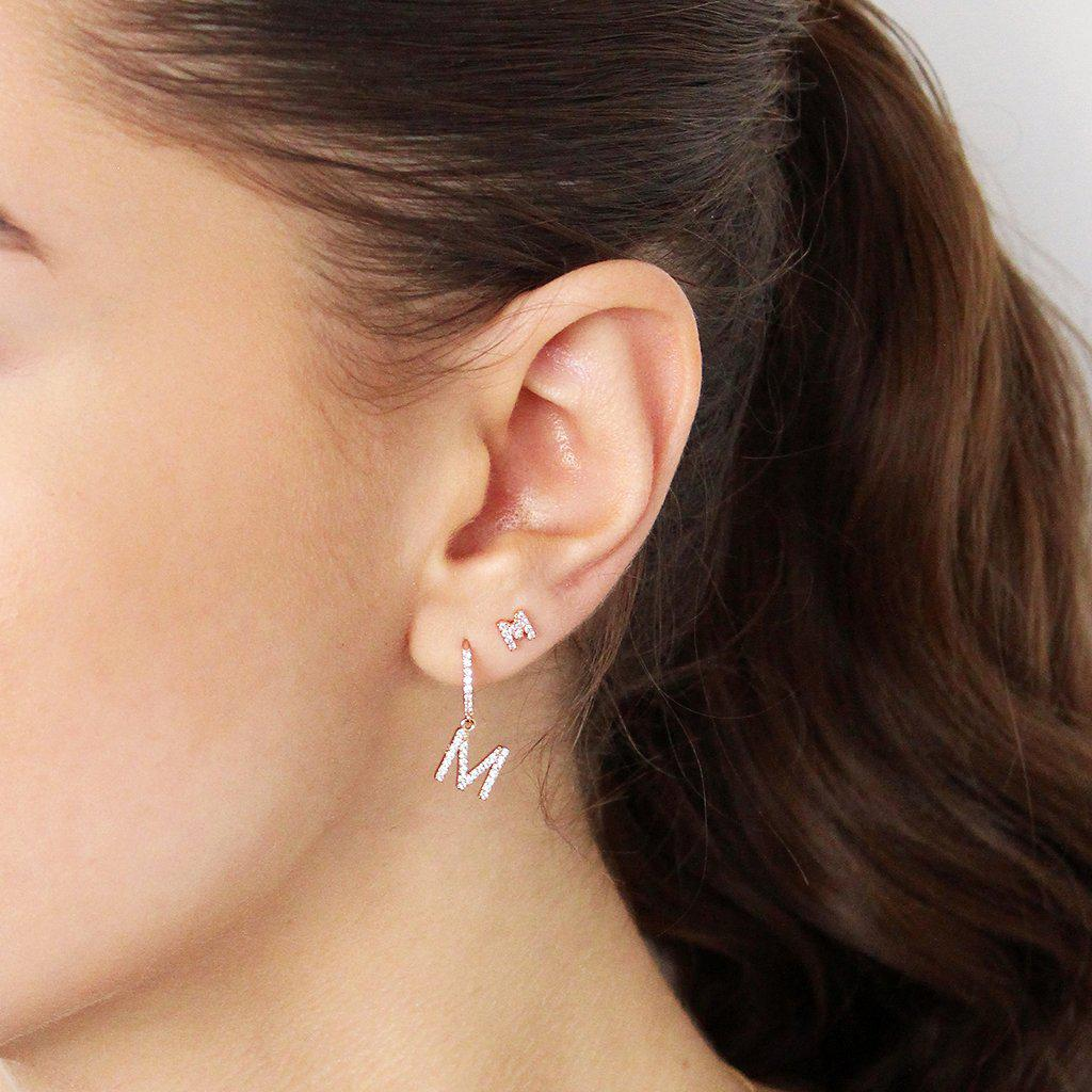 INITIAL ROSE GOLD CRYSTAL STUDS