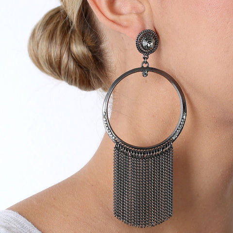 IPANEMA GUN METAL EARRING-Earrings-MEZI
