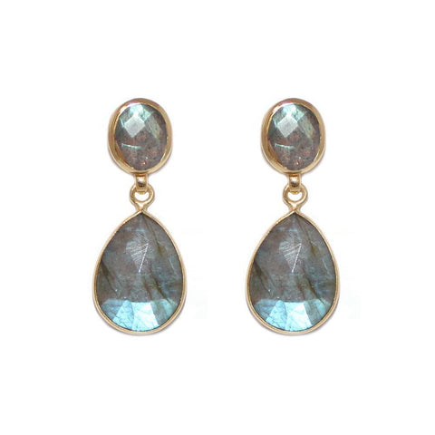 IRA LABRADORITE GOLD DROP EARRINGS