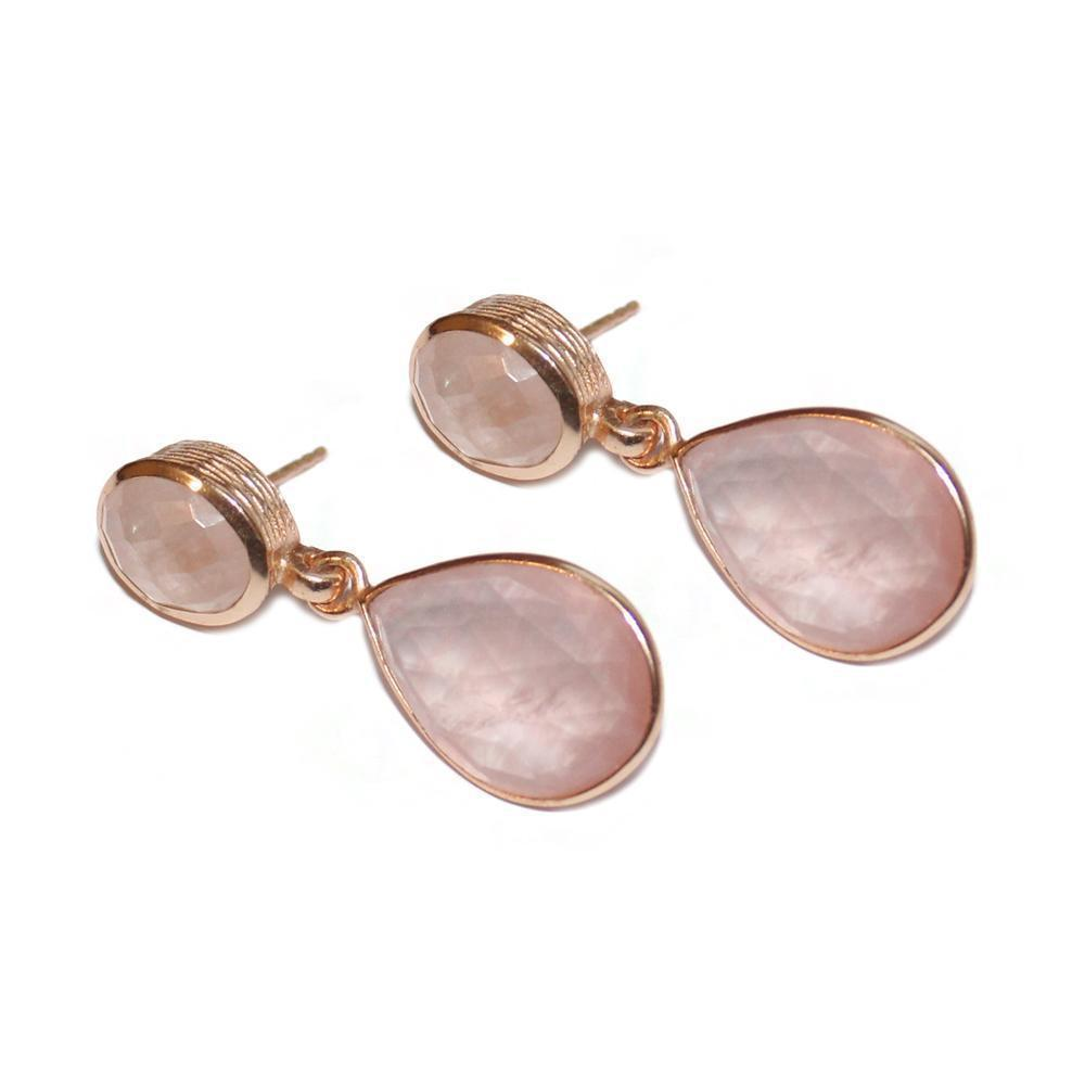 IRA ROSE QUARTZ ROSE GOLD TEAR DROP EARRINGS