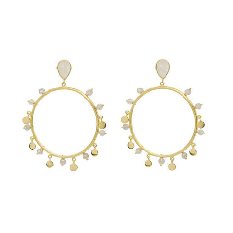 IRMA 2 MICRON GOLD MOONSTONE ROUND DROP EARRINGS