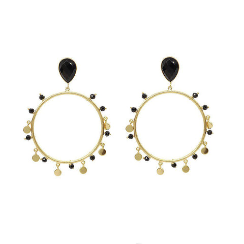 IRMA 2 MICRON GOLD ONYX ROUND DROP EARRINGS