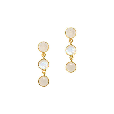 ISBEL GOLD MOONSTONE SEMI PRECIOUS EARRINGS