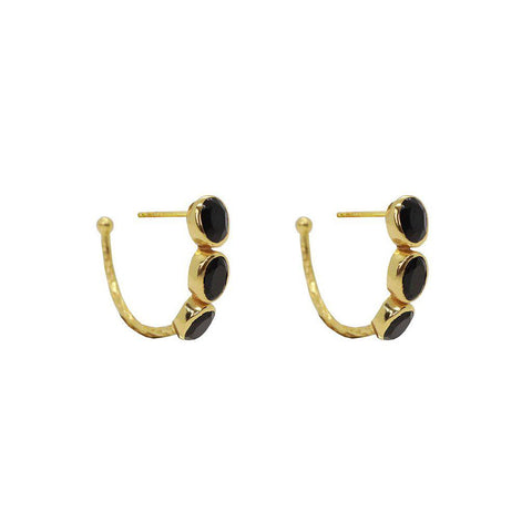 IVAH 2 MICRON GOLD ONYX STUDS