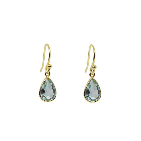IZORA BLUE TOPAZ 2 MICRON GOLD HOOK EARRINGS
