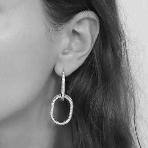 JAGVI DOUBLE LOOP SILVER CRYSTAL DROP EARRINGS