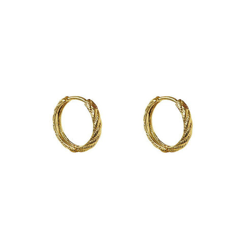 JAHI 2 MICRON GOLD TEXTURED HOOP EARRINGS