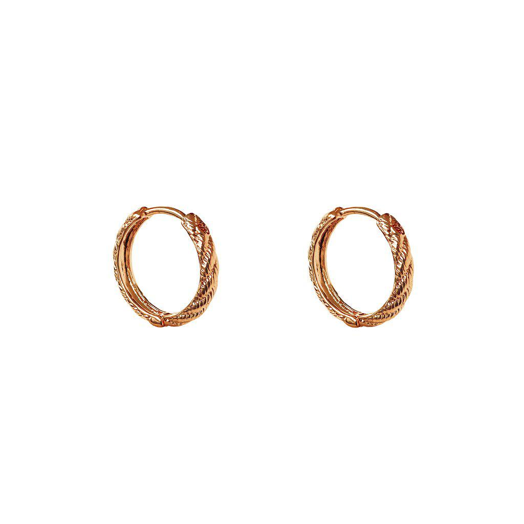 JAHI 2 MICRON ROSE GOLD TEXTURED HOOP EARRINGS