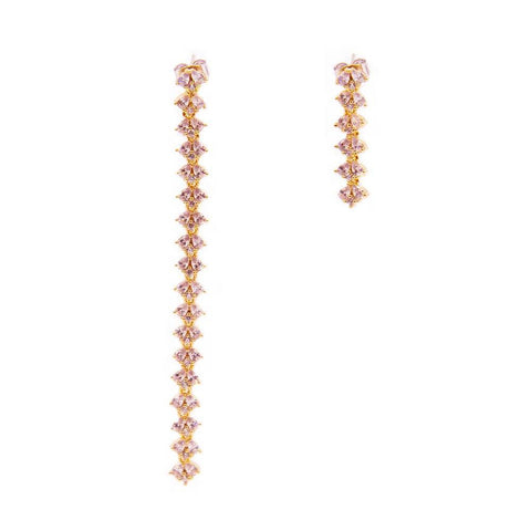 JAIN ROSE GOLD ASYMMETRICAL CRYSTAL EARRINGS