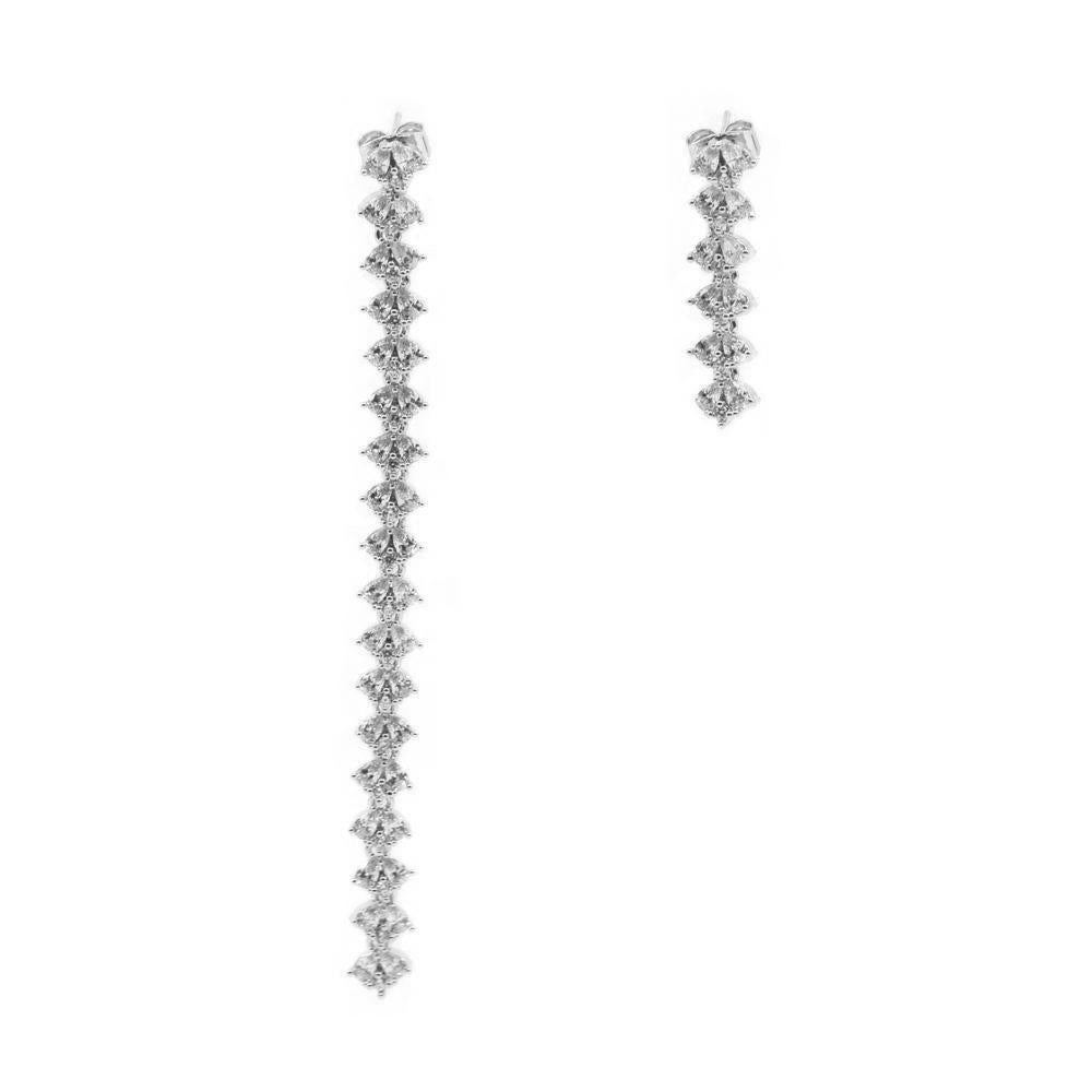 JAIN SILVER ASYMMETRICAL CRYSTAL EARRINGS