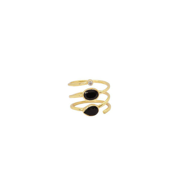 JANAY 2 MICRON GOLD PLATED ONYX AND CRYSTAL RING