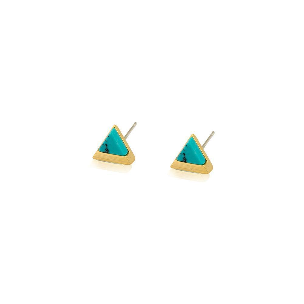 JARVIS TURQUOISE & GOLD STUD EARRINGS