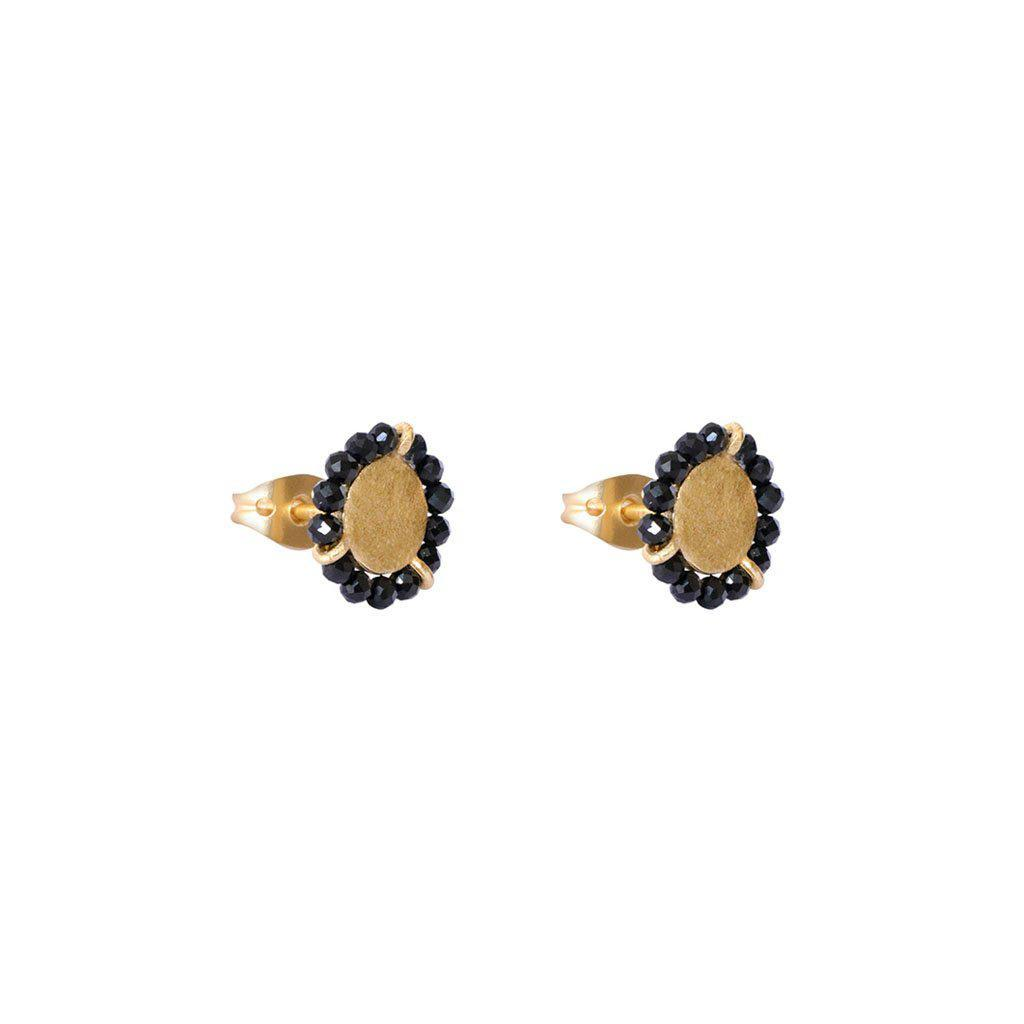JAZLYN ONYX GOLD STUD EARRINGS