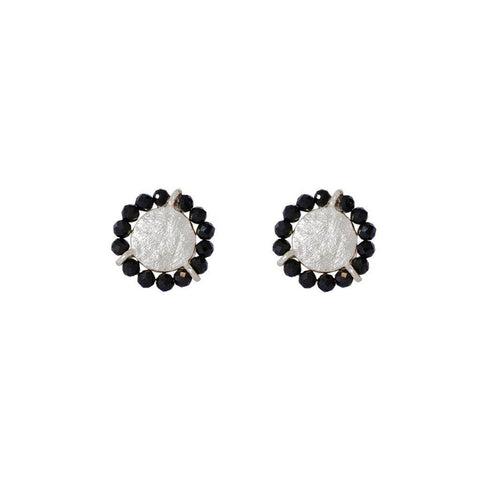 JAZLYN ONYX SILVER STUD EARRINGS