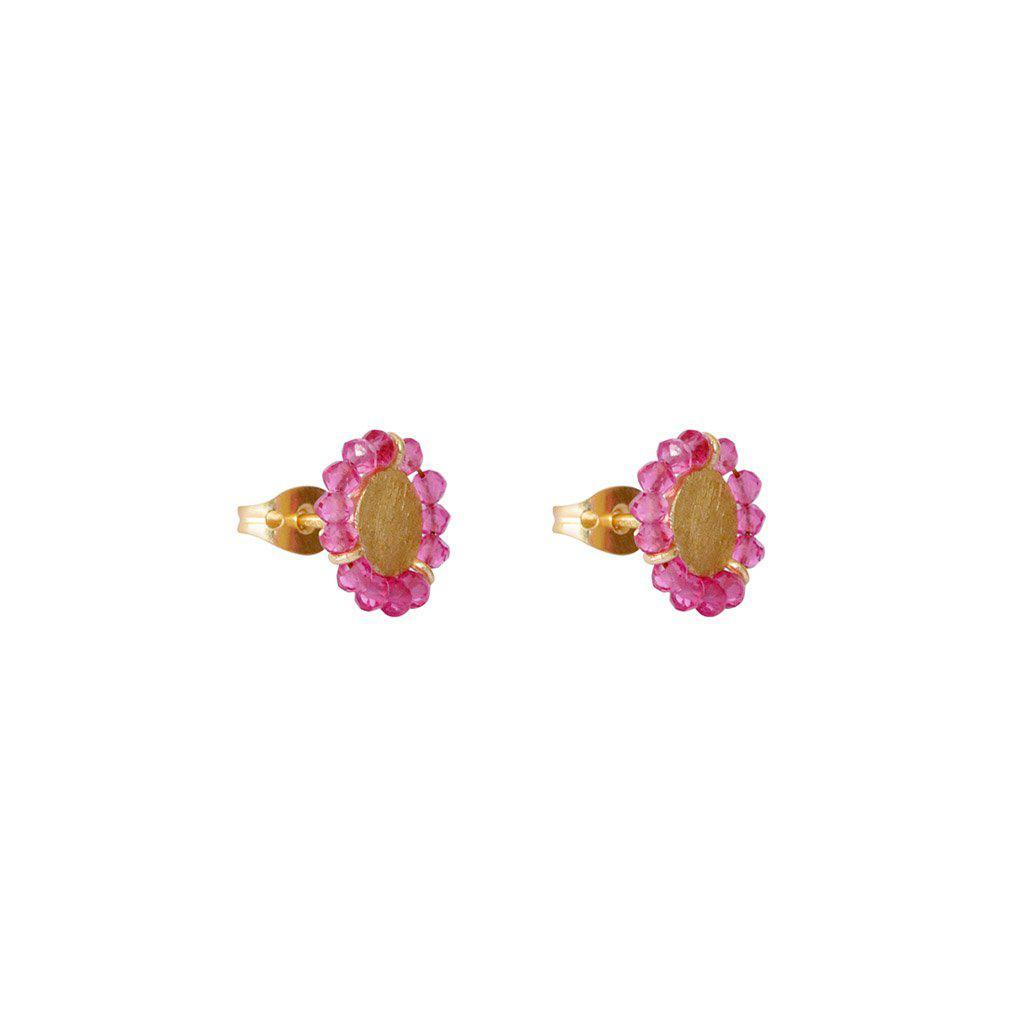 JAZLYN PINK TOURMALINE GOLD STUD EARRINGS
