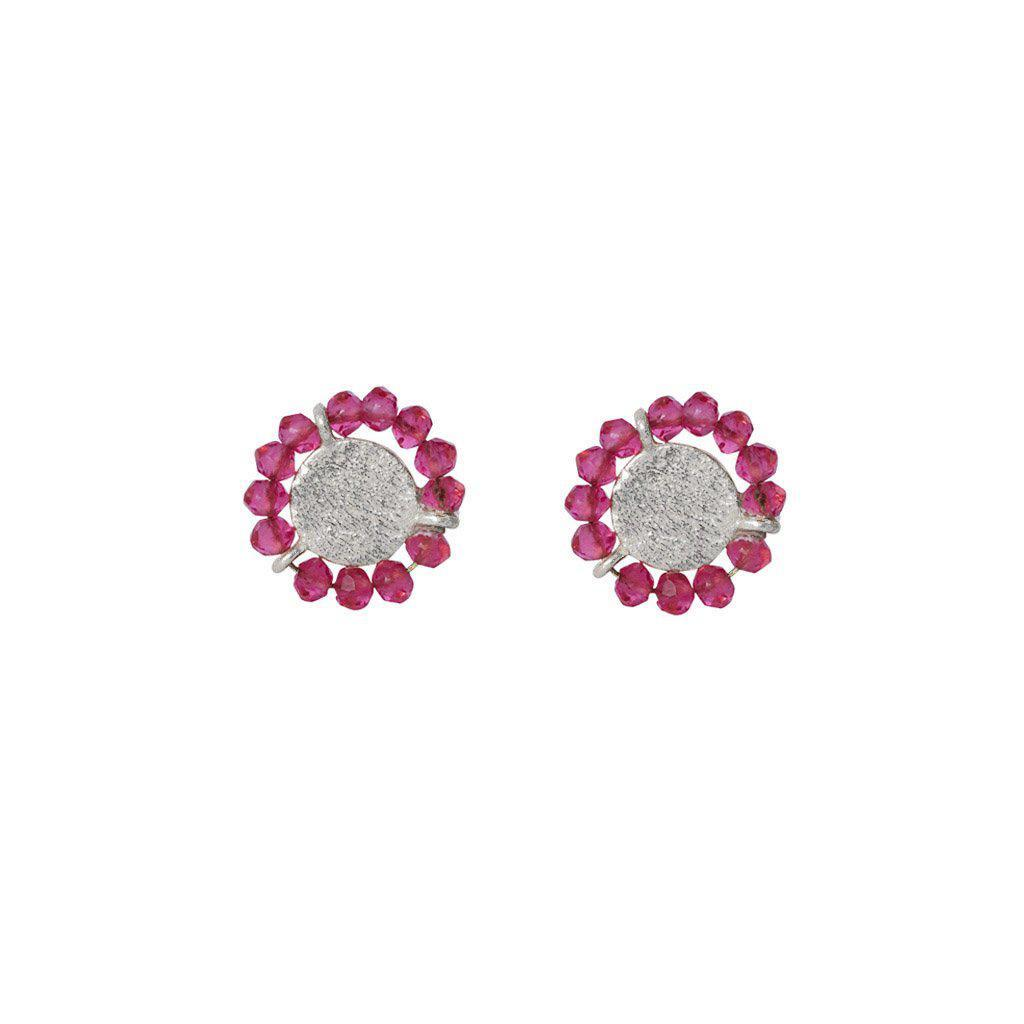 JAZLYN PINK TOURMALINE SILVER STUD EARRINGS