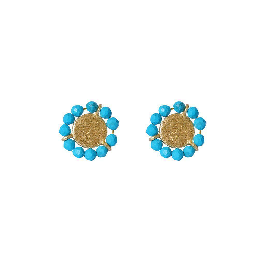 JAZLYN TURQUOISE GOLD STUD EARRINGS