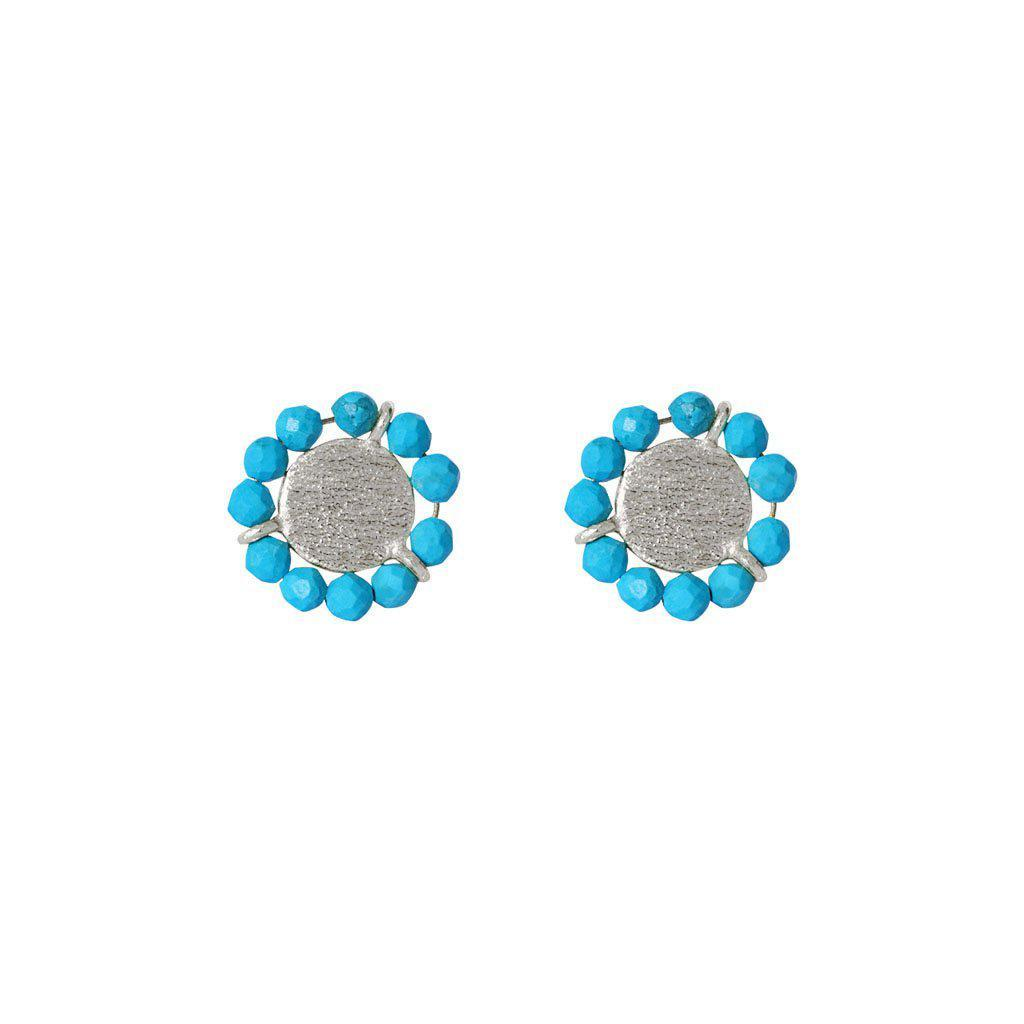 JAZLYN TURQUOISE SILVER STUD EARRINGS