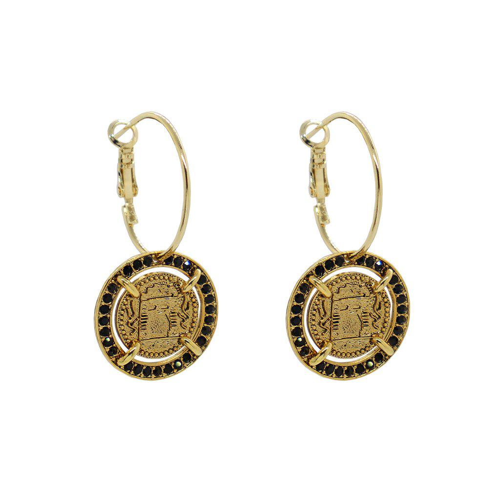 JIRI ANTIQUE BLACK CRYSTAL MEDALLION GOLD EARRINGS