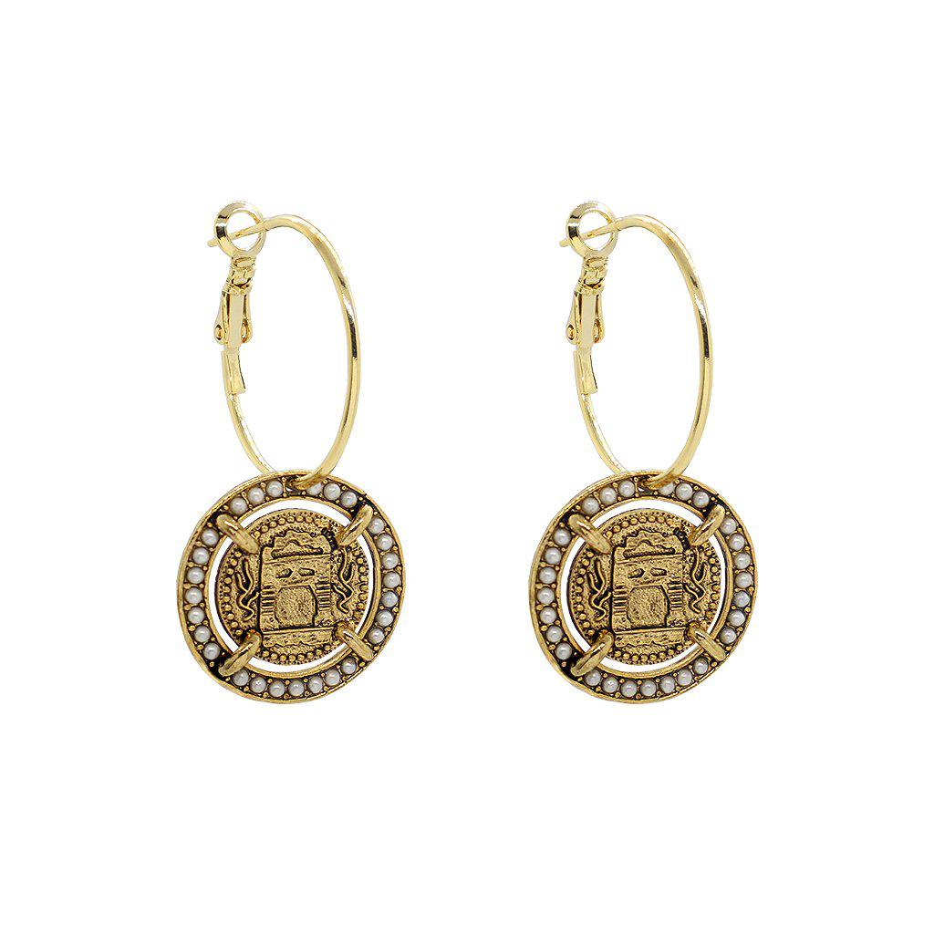 JIRI ANTIQUE PEARL MEDALLION GOLD EARRINGS