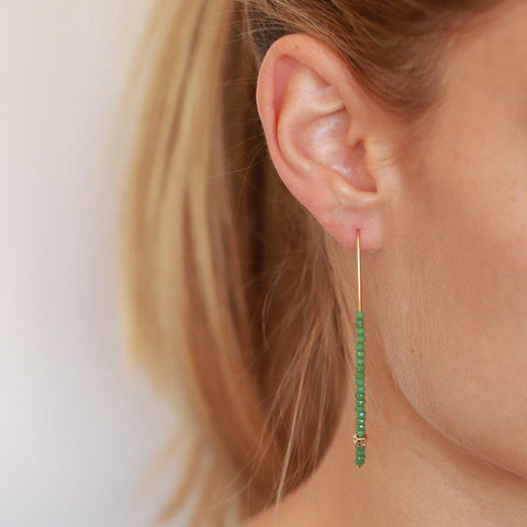 JONAR GOLD AND GREEN CRYSTALS HOOK EARRINGS