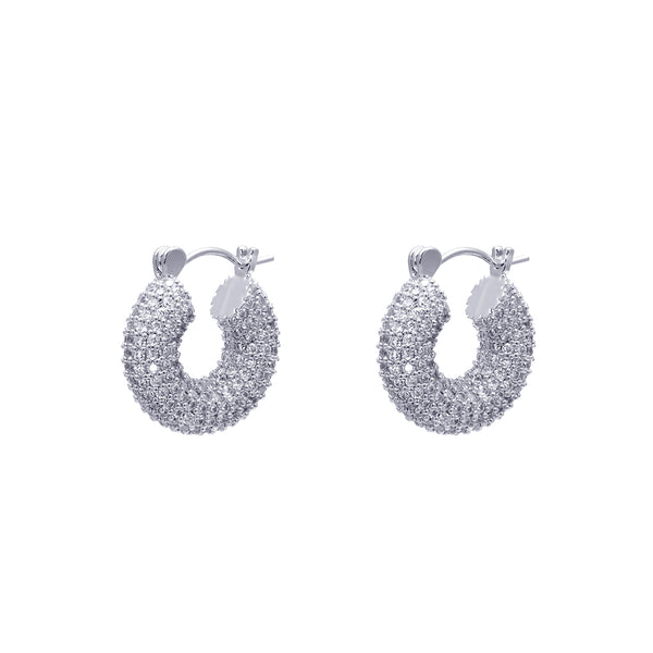 Kayia thick pave crystal hoop earrings