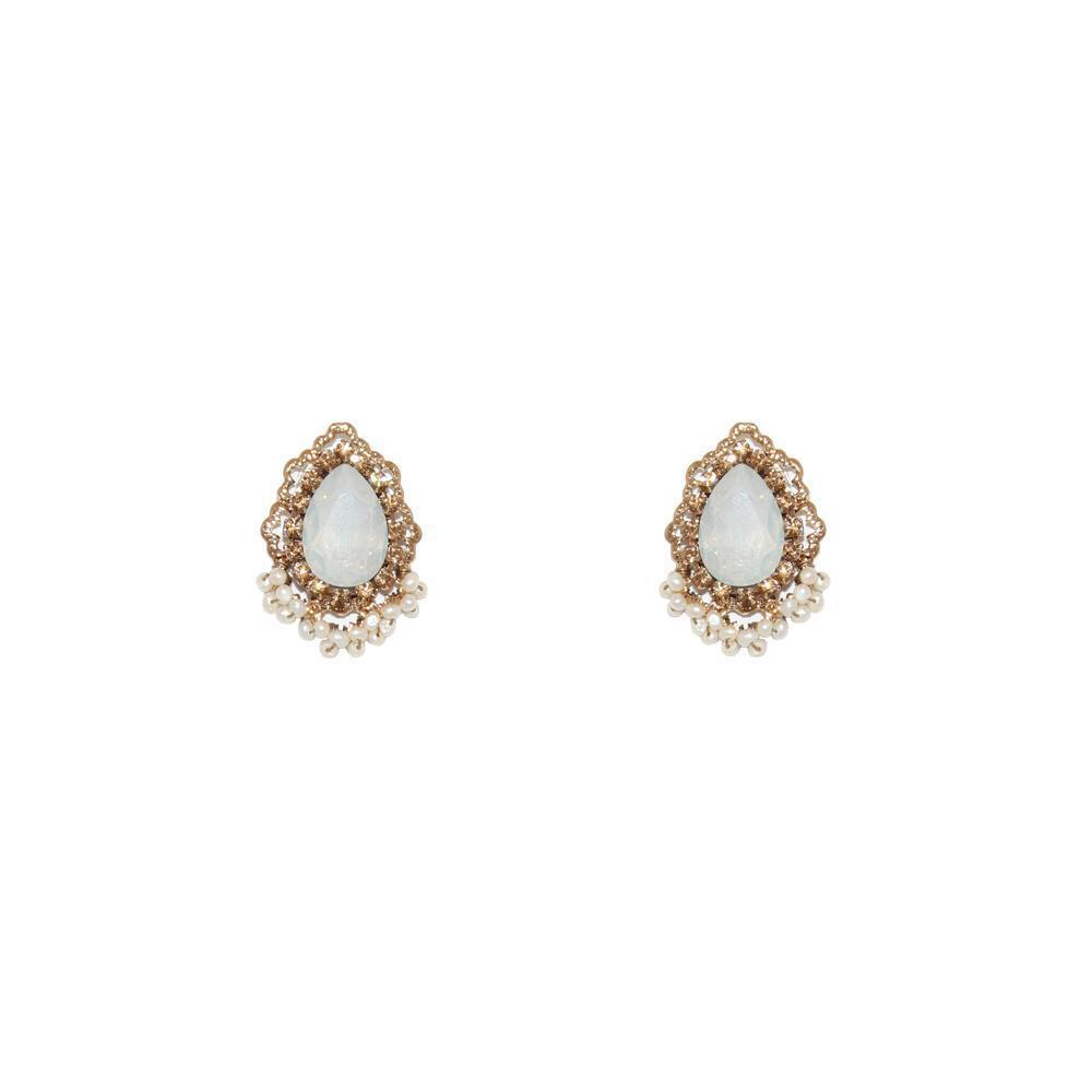 KALI OPAL WHITE STUD EARRINGS-Earrings-MEZI