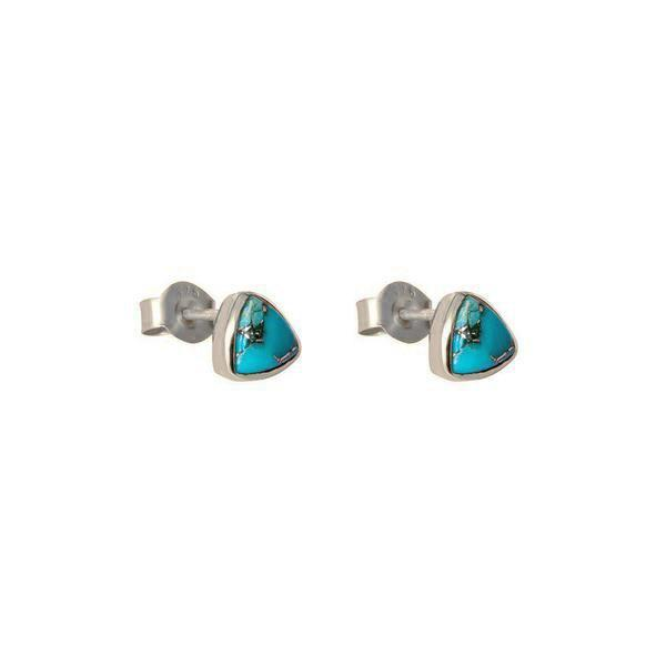 KARTER TRIANGLE TURQUOISE SILVER STUDS EARRINGS