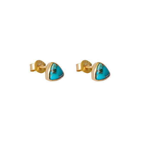KARTER TRIANGLE TURQUOISE GOLD STUDS EARRINGS