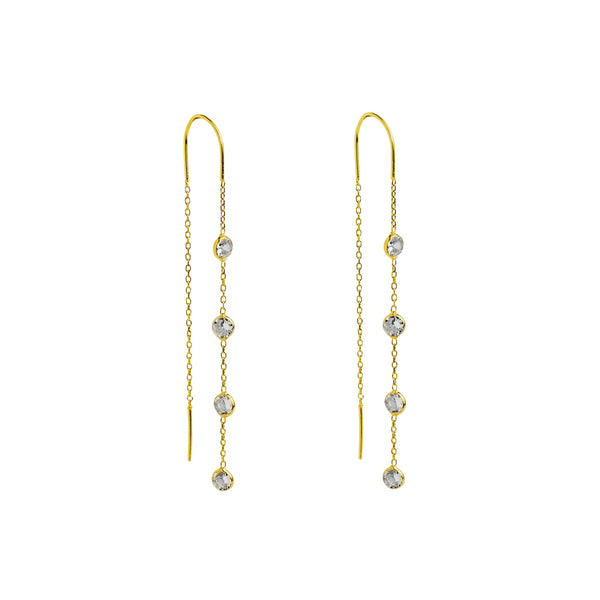 KEVA GOLD THREAD HOOK CRYSTAL EARRINGS