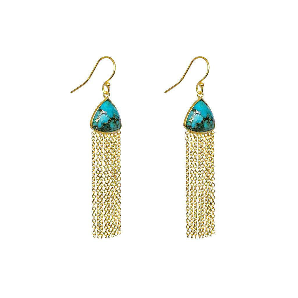 KIONA TURQUOISE SEMI-PRECIOUS 2 MICRON GOLD EARRINGS