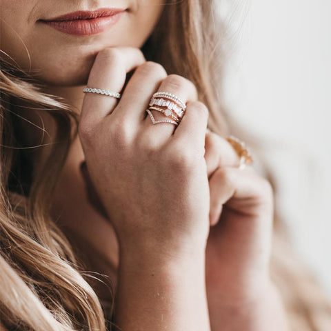 KIRA ROSE GOLD CRYSTAL RING-Rings-MEZI