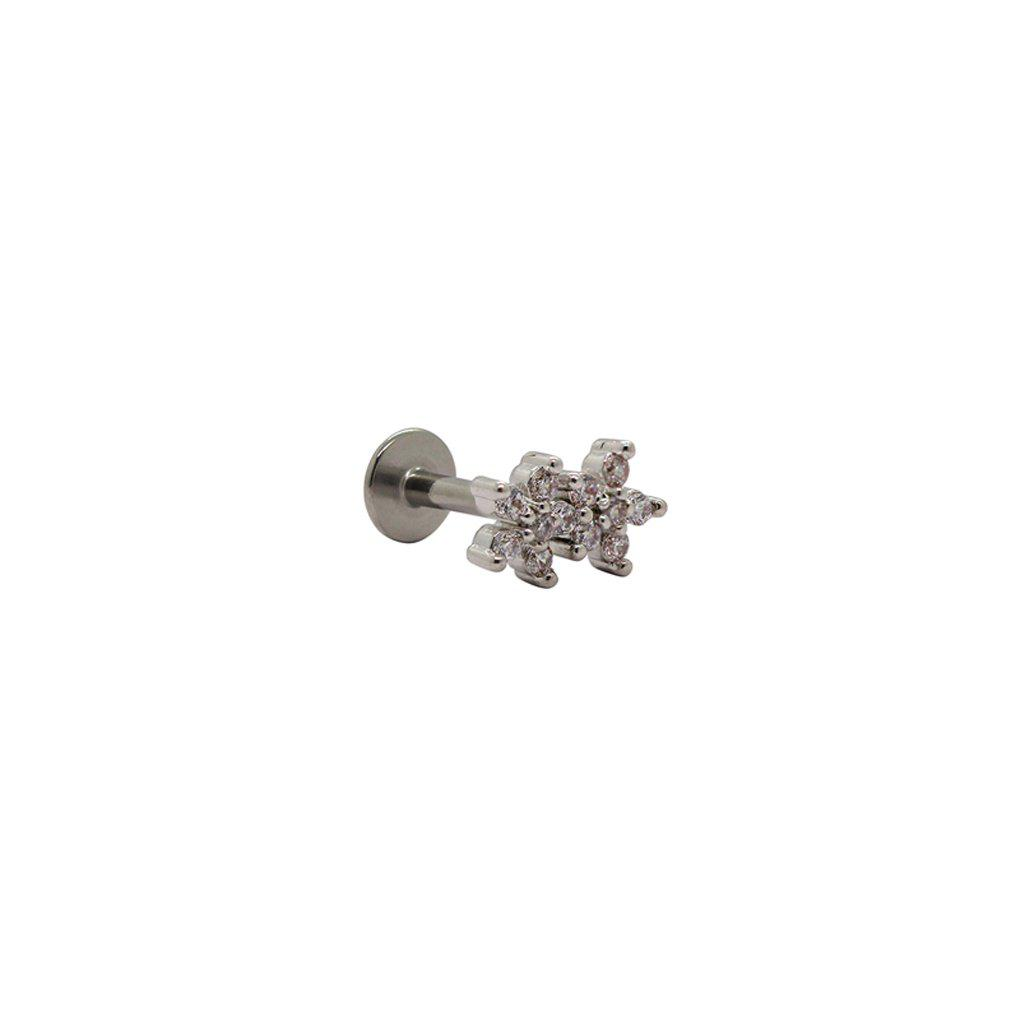 LABRET TWO FLOWERS CRYSTAL