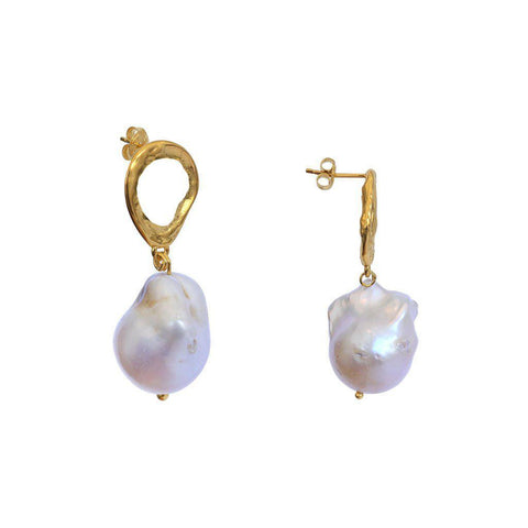 LAIHA FRESHWATER PEARL DROP GOLD EARRINGS