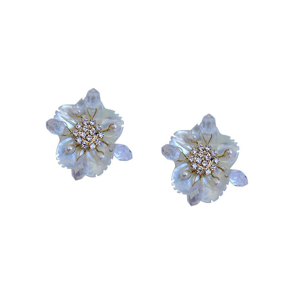LAIMA FLOWER FRESH WATER PEARL STUD EARRINGS