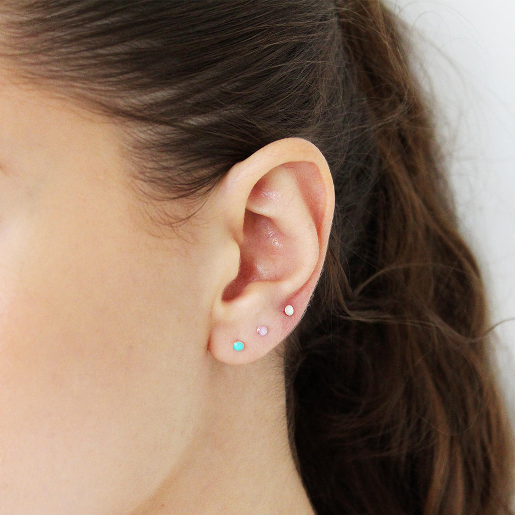 LANA STERLING SILVER BLUE MOTHER OF PEARL MINI STUDS