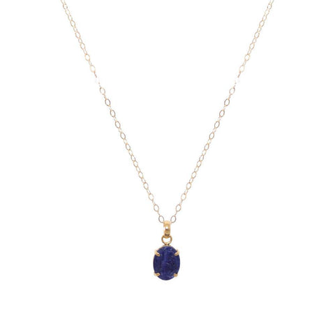 LAPIS LAZULI GOLD FILLED LARGE DROP PENDANT-Necklaces-MEZI
