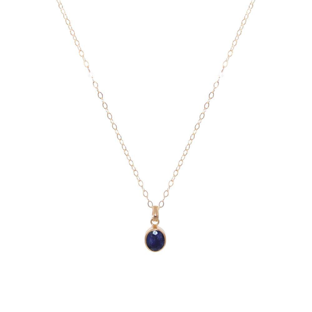 LAPIS LAZULI GOLD FILLED OVAL MEDUIM DROP PENDANT-Necklaces-MEZI