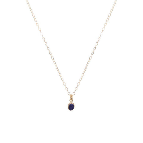 LAPIS LAZULI GOLD FILLED SMALL DROP PENDANT-Necklaces-MEZI