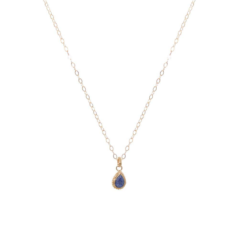 LAPIS LAZULI GOLD FILLED TEAR DROP PENDANT-Necklaces-MEZI