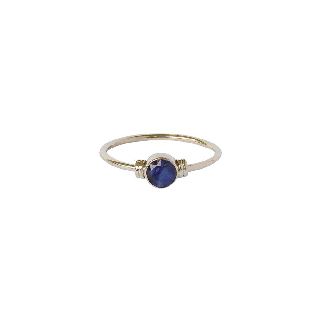 LAPIS ROUND STERLING SILVER RING