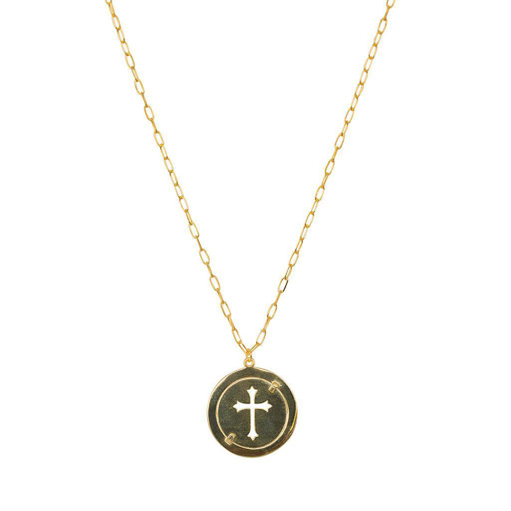 LARGE DISC AND HOLLOW CROSS GOLD NECKLACE