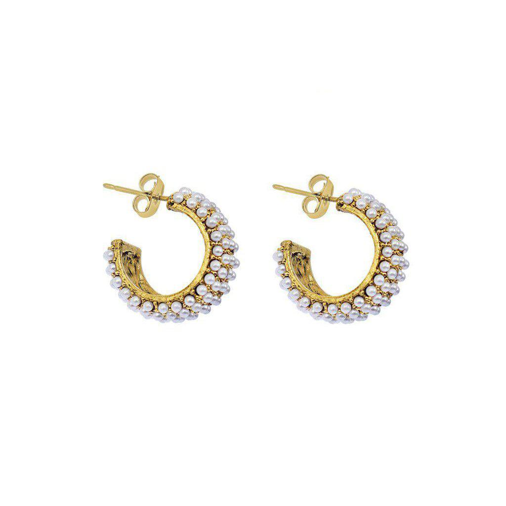 LARGE PEARL HOOP GOLD EARRINGS